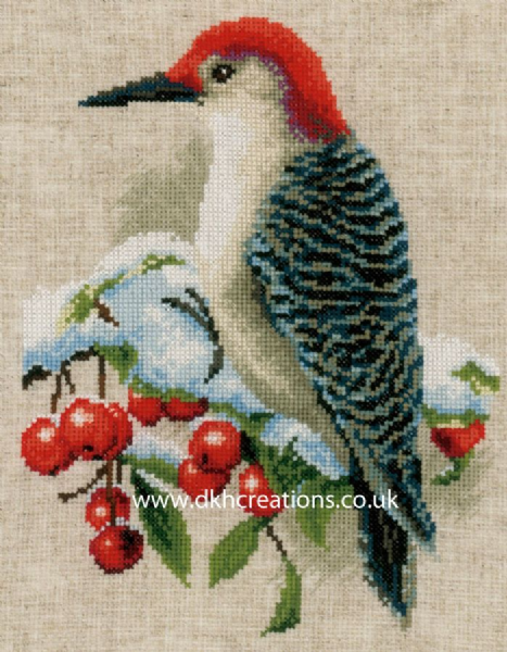 Red Woodpecker In The Winter Cross Stitch Kit